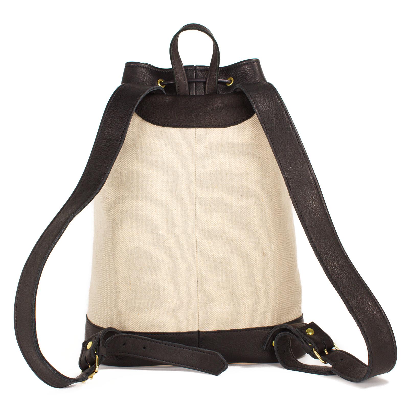 Das ist Rucksack Coco in Natur und Schwarz von hinten.